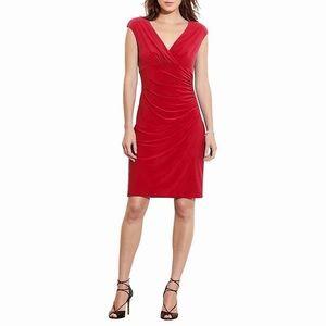 Ralph Lauren Dress Red Size 10 Faux Wrap Sheath